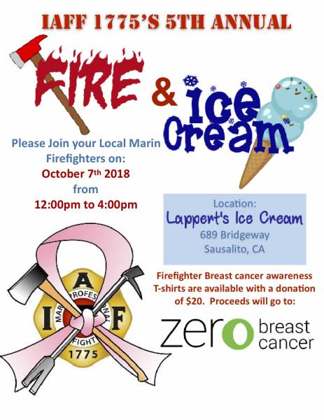 """Fire and Ice Cream"" Fundraiser October 7, 2018 at Lappert's Ice Cream in Sausalito"