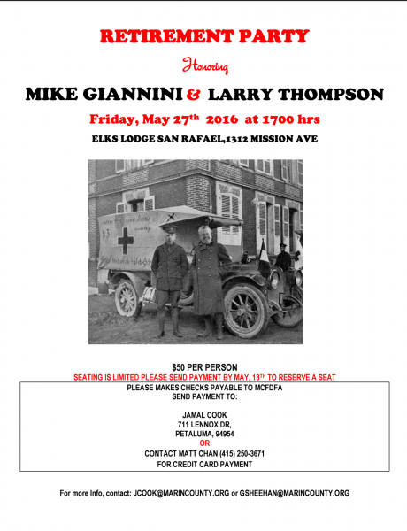Retirement Party for Mike Giannini & Larry Thompson (MCFD) May 27